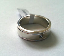 *Argentium Sterling Silver & Diamond Flat Wedding Band Ring 6mm DIA * Sale *