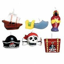 PIRATE  MINI HAPPY BIRTHDAY CAKE CANDLES - PIRATES TREASURE HUNT PARTY