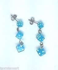 HOT Blue Dice Chain Silver Plated Diamond Ear Stud Drop Dangle Earring Piercing