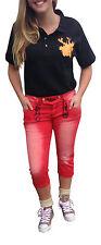 Trachtenhosen Trachtenjeans Caprijeans Jeans Damenhose Rot Lederhosenoptik XL