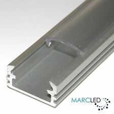 Raw Aluminium Extrusion for LED strips P2 NON-ANODISED Transparent Cover only 2m