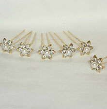 NEW 6 GOLD COLOUR HAIR PINS FLOWER DIAMANTE PEARL WEDDING BRIDAL PROM