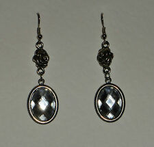 VICTORIAN STYLE CLEAR ACRYLIC CRYSTAL DARK SILVER PLATED ROSE EARRINGS RS