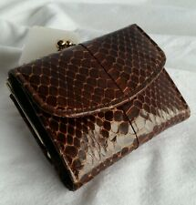 Vtg Mid Century Mini Snake SkinLeather Coin Purse Wallet Divided