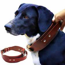 Brown Leather Dog Collars with Handle Durable for Large Dogs Training Walking