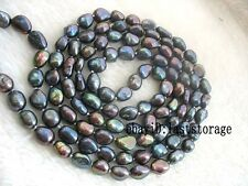 "wholesale ! freshwater pearl black baroque 8-10mm necklace 45"" nature beads"