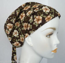 Brown Floral Cotton Cancer Chemo Alopecia Fitted Hair Scarf Turban Hat Headwrap