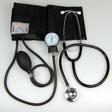 Aneroid Sphygmomanometer Adult Cuff Blood Pressure Monitor Dual Head Stethoscope