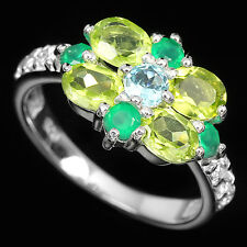 Natural TOPAZ, PERIDOT, AVENTURINE & White CZ 925 STERLING SILVER RING S8.0