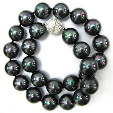 """10mm Multicolor Black South Sea Shell Pearl Round Beads Necklace 18"""" AAA"""