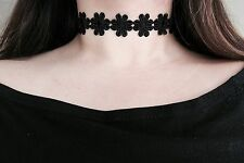 Thick Black Flower Floral Daisy Ribbon Cloth Velvet Choker Wide Wrap