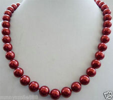 """Charm 8mm Red South Sea Shell Pearl Necklace 18"""""""