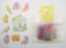 Japanese sticker flakes of pastel colored birds! Owls, lovebirds, & parakeets!!