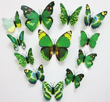 12pcs Removable 3-dimensional 3D butterfly wall stickers w/ fridge magnet -Green