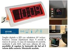 LOWELL JE5103R OROLOGIO e SVEGLIA DIGITALE con DISPLAY a LED GIGANTE ROSSO 220V