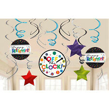 Officially Retired Hanging Swirl Decorations Happy Retirement Party Supplies
