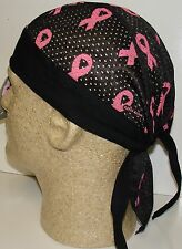 Premium Black Pink Breast Cancer Ribbon Vented  Sweatband Durag Headwrap