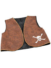 Skull & Crossbones Brown Waistcoat Pirates Fancy Dress Acessory Swashbuckler New