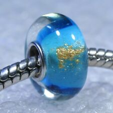 "SINGLE CORE EUROPEAN STYLE GLASS BEADS-""Turquoise Gold Sparkle"""