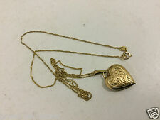 14K Gold Italian Chain Necklace Ladies 585 Italy & Rolled gold  Heart Pendant