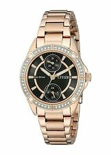 Citizen Eco-Drive Women's FD3003-58E Swarovski Crystal Accents Rose Gold Watch