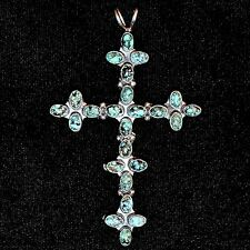 Large Sterling Silver & Turquoise Navajo Cross Pendant by Nakai