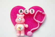 PERSONALIZED CARE BEAR STETHOSCOPE RN NURSE MEDICAL ONCOLOGY ID BADGE HOLDER