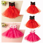 Flower Girl Princess Bow Dress Kis Baby Wedding Party Pageant Tulle Dresses 2-8T