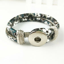 DIY Handmade Leather Bracelets Drill Fit For Noosa Snaps Chunk Charm Button V-39