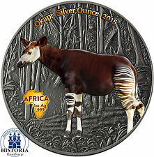 Africa Serie: Kongo 1000 Francs 2015 Antique Finish Okapi Silver Ounce in Farbe