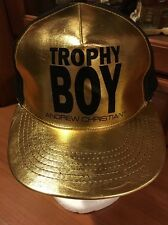 Trophy Boy Andrew Christian Gold Metallic & Black SnapBack Hat Cap Men's Gay New