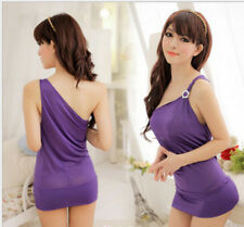 Fashion Purple Slim Lady Women Cocktail Party Clubwear Mini Dress Fit S-M
