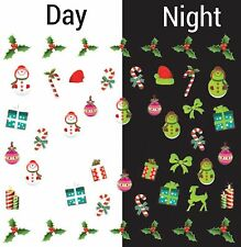 Nail Art Water Decals Glow in the Dark Candycane Holly Mistletoe Snowman GID046
