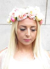 Blush Pink White Peach Rose Flower Headband Hair Crown Festival Garland Boho 47