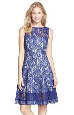 XL TADASHI SHOJI Blue White Lagoon Lace Bonded Overlay Fit Flare Illusion Dress