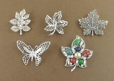 Vintage Estate Brooch Lot of 5 Leaf Butterfly Silver Tone Sarah Coventry & More
