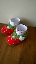 Strawberry Baby Booties / Shoes 0-6 months Hand Knitted