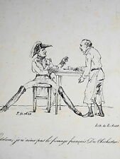 RARE Litho CARICATURE ARMOIRIES BLASON METIER MENUISIER Epoque RESTAURATION 1822