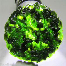 China natural black/Green jade hand-carved pendant Dragon&phoenix With necklace