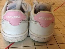 Converse White Leather Shoes Baby Size 5 Sneakers Old School Pink Accent Casual