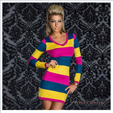 Clubwear Glam Hot Coctail Evening Summer Dress Longsleeve Patched Stripes XS-M