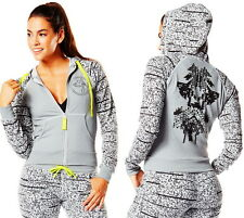 ZUMBA Tri-Me Crave Hoodie Sweatshirt Jacket Gym Yoga Dance Top Thundering Grey S