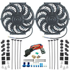 "DUAL 12"" INCH ELECTRIC RADIATOR COOLING FANS & 3/8"" NPT PROBE FAN THERMOSTAT KIT"