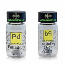 Palladium metal element 46 ~1cm foil ~5mg 99,95% in glass vial + colored label