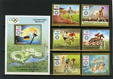 AJMAN 1971 SUMMER OLYMPIC GAMES MUNICH SET OF 6 STAMPS & S/S IMPERF. MNH