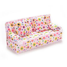 Mini Furnitures Sofa Couch +2 Cushions For Barbie Dolls House Accessories Beauty