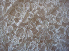1 mt  x 1.5mts piece of white patterned  lace fabric new