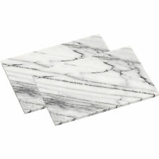Set Of 2 White Marble Finish Kitchen Worktop Saver Cutting Chopping Boards New