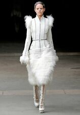 Alexander McQueen Fall 2011 Paris Collection White Mink Fur Coat 44 uk 12