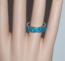 size 7 PAVE CRYSTAL AQUA-BLUE 2-ROW BAND TITANIUM STEEL FASHION RING - NEW